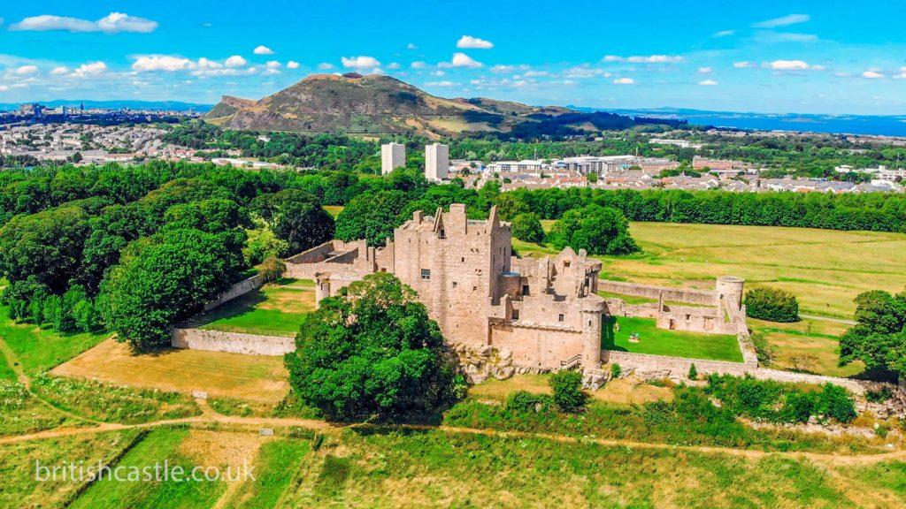 Aerial shot of Craigmillar Castle