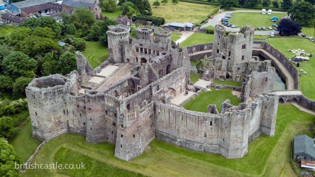 Aerial shot of Raglan castle