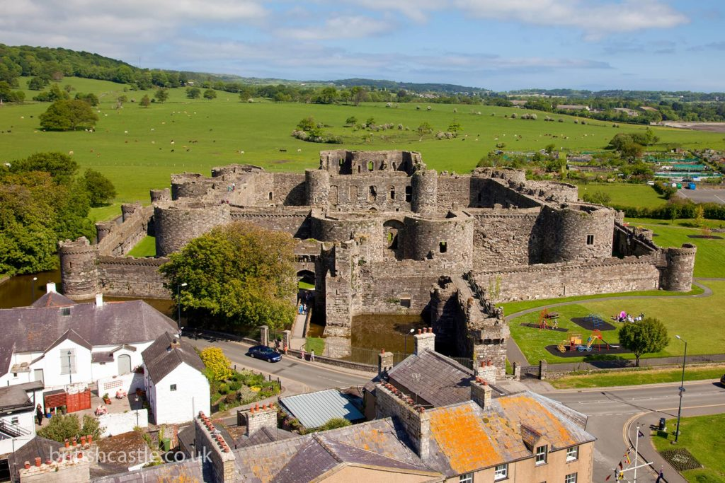Elevated view of Beaumaris Castle
