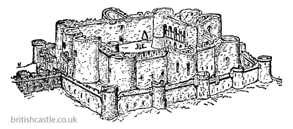 Sketch drawing of Beaumaris Castle