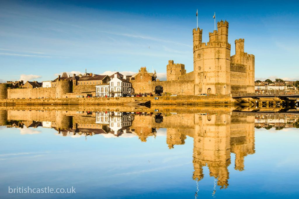 Caernarfon Castle reflected in the river Seiont