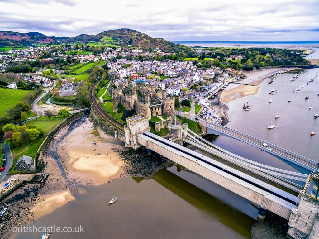 Aerial shot of Conwy and its castle