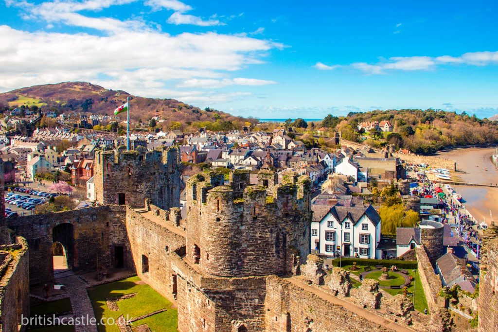 Conwy castle and the town beyond