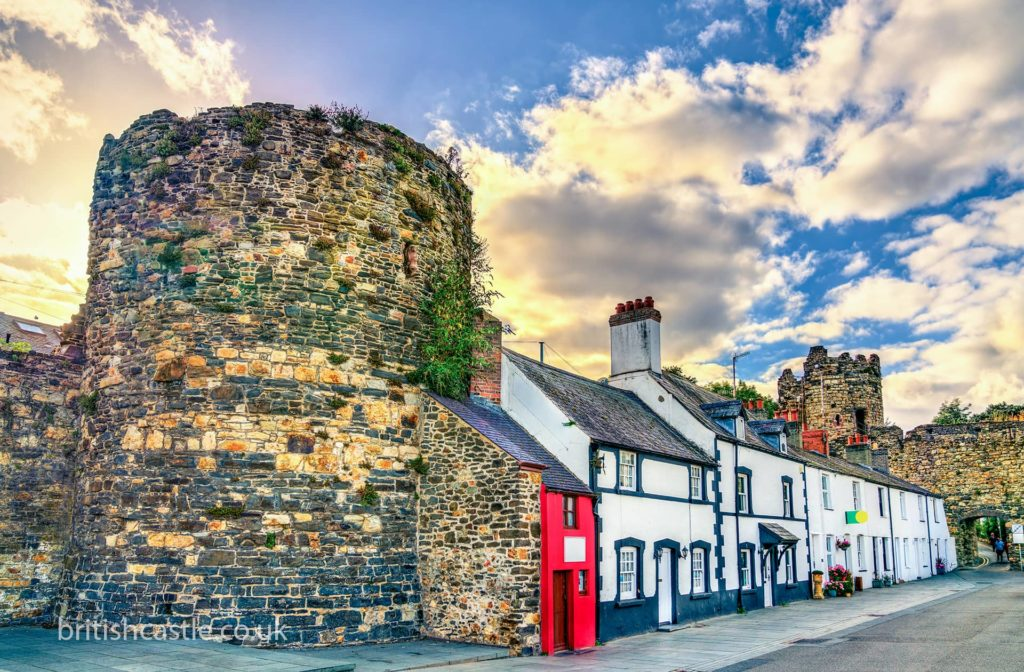 Houses built into Conwy town walls