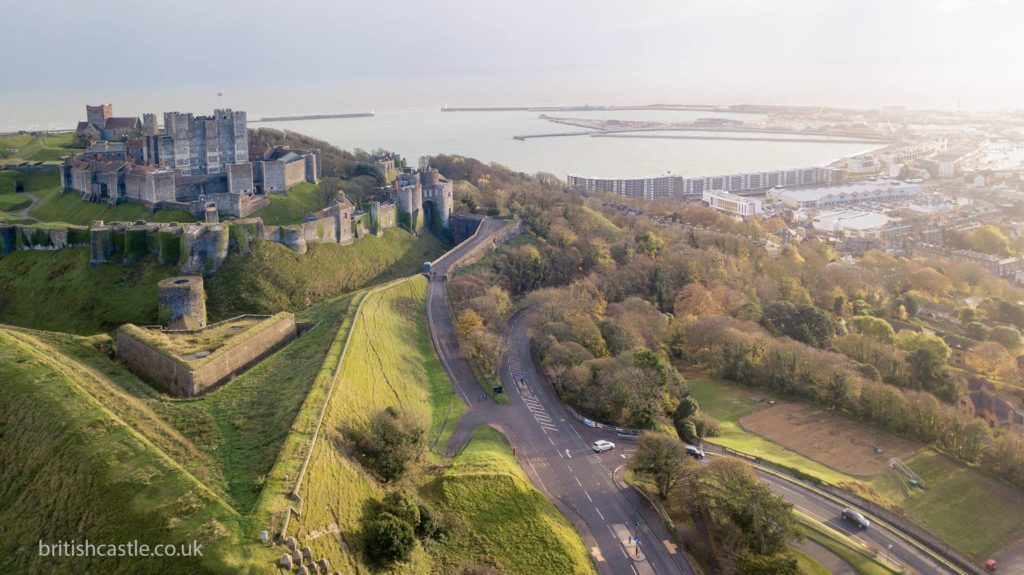 Dover Castle and the port of Dover