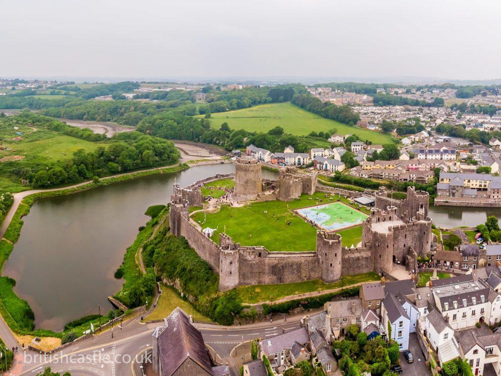 aerial view of Pembroke castle