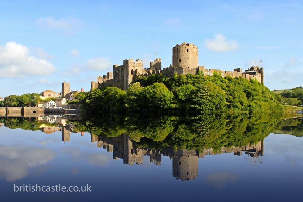 Pembroke castle reflected in the water