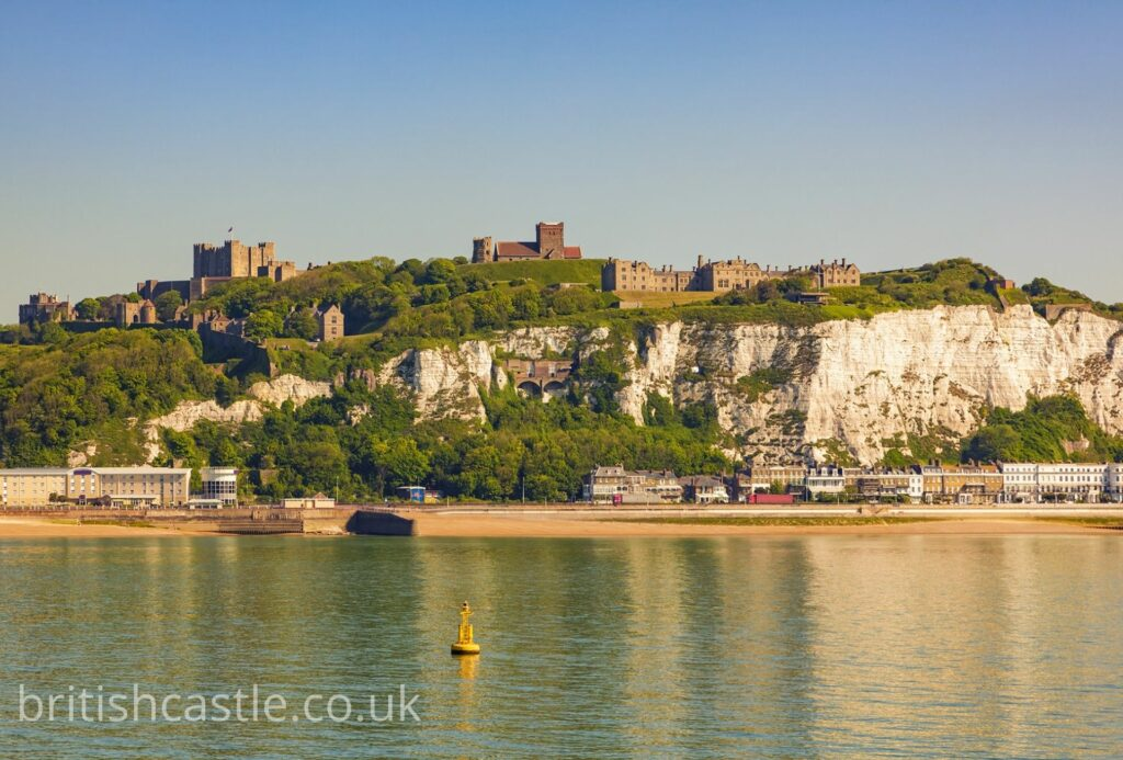 The white cliffs of Dover with the castle perched on top