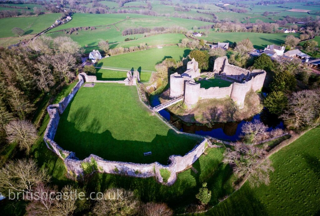 An aerial shot of White castle in Wales