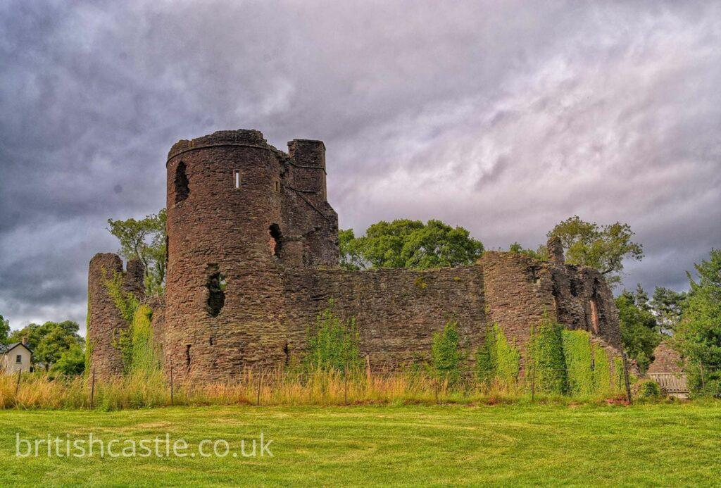 Grosmont castle on an overcast day