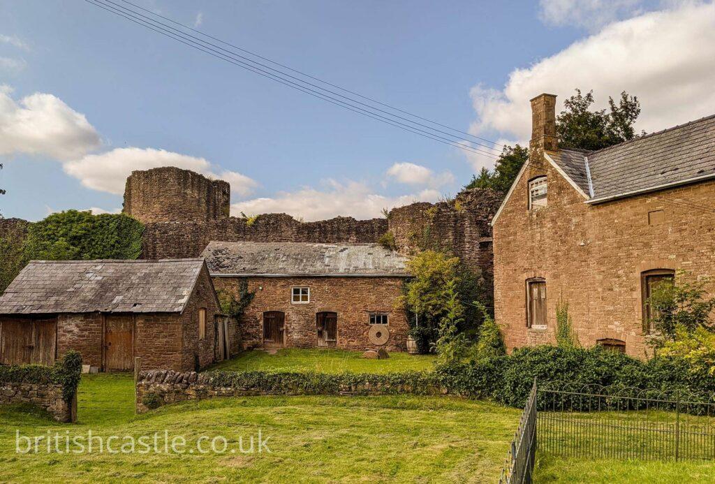 A farmhouse built into the outer walls of Skenfrith Castle